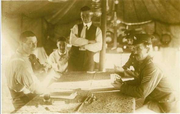 "Photo:Maternal grandfather - Thomas Richard Lillywhite (born 14 Islingwood Place Brighton 1 May 1894 - died 31 July 1938). Photo depicts RSM Lillywhite (on the right of the photo) Royal Sussex Regiment, serving in India pre 1901, playing ""crib"", taken in Sergeant's Mess (tent) with the cribbage board on the table still in possession of my family."