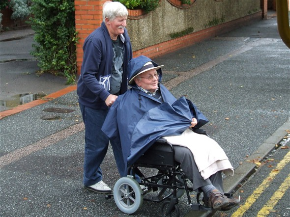 Photo:David wheeling our Vice President Bob out to the coach
