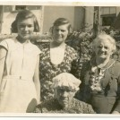 "Photo:Four generations of Great Granny Speed [Front], Aunt Annie Ayling (my Godmother and Dad's Aunt), her daughter Dolly Maynard and her daughter ""Dodo"", at Grove Street, Brighton."