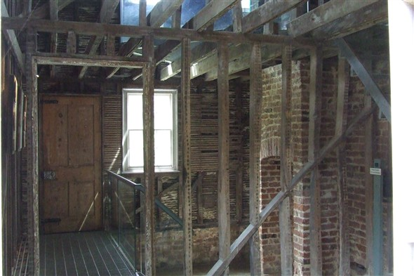 Photo:Interior of the right cottage showing construction detail