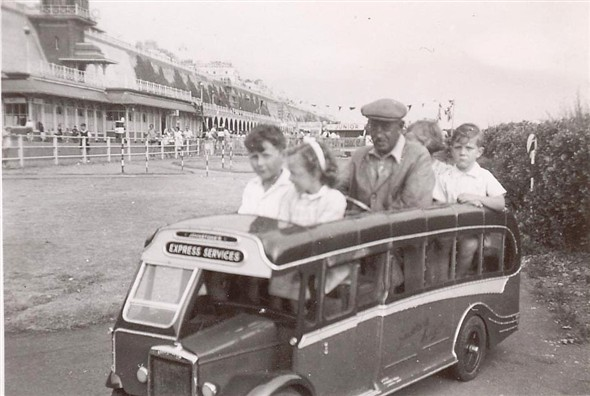 Photo:Miniature Southdown Coach at Peter Pan's Playground, Madiera Drive, Brighton.-1950's?  Cousins Jill and David @ back.