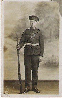 Photo:James Alfred Horrobin, this is a 'posed' photograph, taken at the age of 15, to show his Mother what he would look like in uniform!  He signed up a year later at 16.