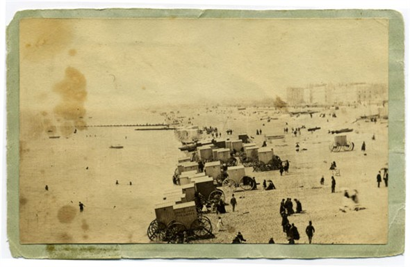 Photo:Bathing machines from the West Pier