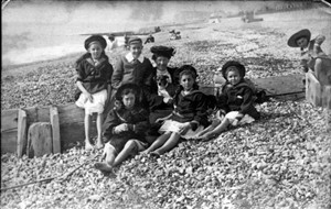 Photo:My dad Gerald Body, 5 Aunties their Nannie and dog Hove or Brighton Beach