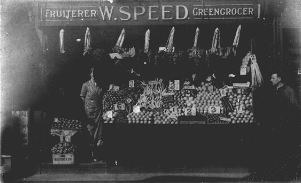 Photo:Mum and Dad outside our greengrocer's shop - 1 Sydney Street, Brighton (1936?)