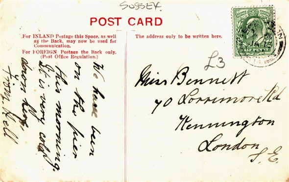 Photo:Reverse of postcard