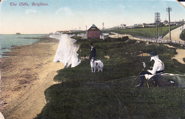 Photo:Postcard of the cliffs at Brighton
